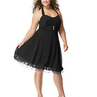 Ruby Rox Plus Size Dress, Rhinestone Pin Halter Party - Junior Plus Size - Plus Sizes - Macy's