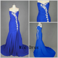 Sweetheart Sleeveless Floor-length Chiffon Pleated Appliques Long Prom/Evening/Party/Homecoming/Bridesmaid/Cocktail/Formal Dress