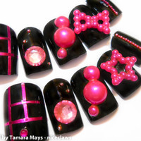 Hot Pink Rocker Girl 3D Fake Nails Bow Star and Rhinestones