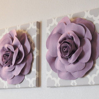 TWO Wall Flowers Lilac Rose on Gray and White Tarika by bedbuggs