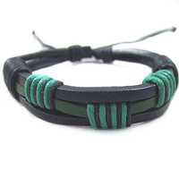 Real Leather Cotton Ropes Woven Men Leather Jewelry Bangle Cuff Bracelet Women Leather Bracelet  SL0293-GR