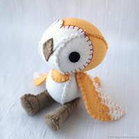 Barn Owl Plush Art Doll Hobs Made to Order by nonesuchgarden