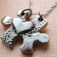 Puzzle Piece Necklace Jewelry Heart in Sterling Silver