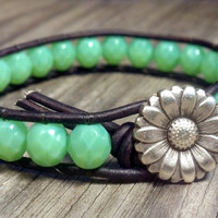 Opal Jade Czech Glass Beaded Leather Bracelet, Sunflower Leather Wrap Bracelet, Chic Leather Wrap Jade Bracelet, Boho, Shabby Chic