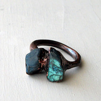 Labradorite Copper Ring Gem Stone Natural Raw by MidwestAlchemy