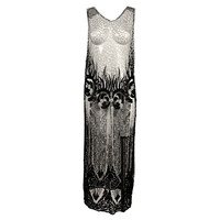 1920's Beaded Silk Net Art Deco Gown