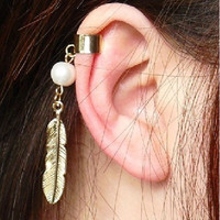 Feather Ear Cuff Simple Ear Cuff With Feather by sanny1983 on Etsy