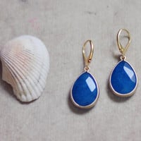 Simple elegant and feminine drop classic cobalt blue earrings by YUNILIsmiles