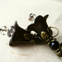 Black Flower Earrings. Black Jewelry. Lucite Flower Earrings Vintage Inspired Black Earrings with Diamond Crystals & Antique Bronze FDE7