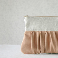 Linen pleated Clutch Purse bridesmaids clutch bridal clutch choose your color