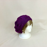 Slouchy Beanie Lace Purple Hat Baggy Knit Large Slouch
