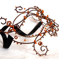 Bronze wire vine masquerade mask, ladies, handmade