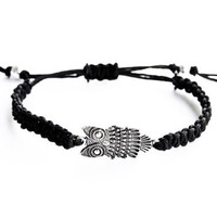 Owl Bracelet Black Hemp Friendship Adjustable