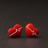 Beating Heart Earrings Studs, Valentine Earrings