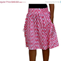 ON SALE Spring Fashion SKirt  / Chevron Midi Skirt in Pink and White with Two Pockets / Ready to Ship