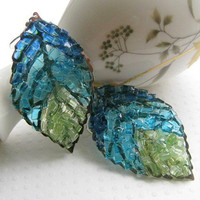 Stained Glass Blue Leaf Earrings by AimeezArtz on Etsy