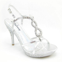 DELICACY Tremendous-93 Womens Silver High Heel RHINESTONE Platform Sandals Shoes