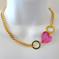 Valentine's Day Special Gold Chain Link Necklace with by oiajules