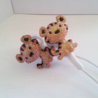 Baby Orange Glitter Tiger Earbuds