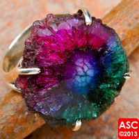 PURPLE SOLAR QUARTZ 925 STERLING SILVER RING SIZE 6 1/2 JEWELRY