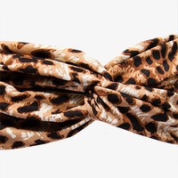 Knotted Leopard Print Headwrap