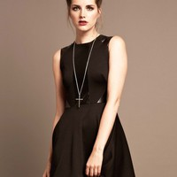 LOVE Black Marcella Skater Dress With PU Panels - Love