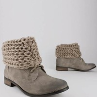 lace-up crochet cuff ankle boot $26.20 in STONE - Boots | GoJane.com