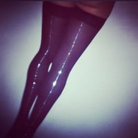 stardust. black thigh highs with dazzled seam.