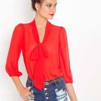 Tied Chiffon Blouse in Features Back In Stock at Nasty Gal