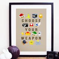 "Nintendo Mario Kart ""Choose Your Weapon"" Poster Print A4 / 8x10"