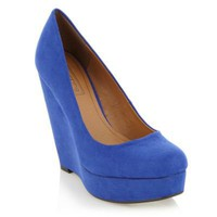 Bright blue wedge court shoes - High heel shoes - Shoes & boots - Women -