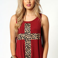 Grace Leopard Cross Print Drop Hem Tank