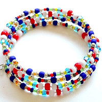 Memory Wire Kids Multicolored Beaded Cuff Bracelet