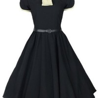 Amazon.com: Lindy Bop 'Odette' Classy Vintage 1950s Black + Cream Collared Flared Swing Party Evening Dress: Clothing