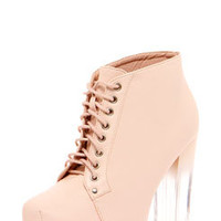 Amara Baby Pink Leather Look Lace Up Perspex Block Heel Boot