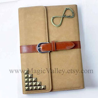 Two Color Choice, Leather iPad mini Case, iPad mini Cover, One direction iPad case with bronze studs, Ipad Mini Book, Ipad mini Sleeve