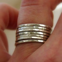 Set of 7 sterling silver stackable rings by uniquestackingrings