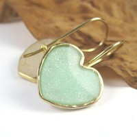 Gold Heart Earrings  dangle hoop Light green by SigalitAlcalai
