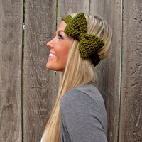Olive Green Bow Headband With Natur.. on Luulla