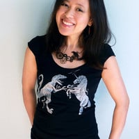 Unicorn vs. Dinosaur Women's Tshirt - Unicorn Tshirt, Dinosaur Tshirt - Epic Showdown Tee Shirt