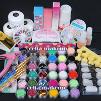 36 Acrylic Powder Liquid Clipper Primer Glitter NAIL ART TIP Brush KITS set 137