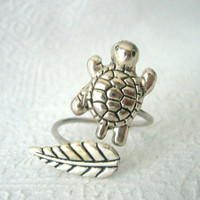 silver turtle ring with a leaf wrap open style by stavri on Etsy