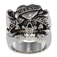 Wholesale skull 'Love Kills Slowly' Cubic Zirconia Stainless Steel Ring - JP08974 $ 13.50 : Steel Rings Steel Jewelry