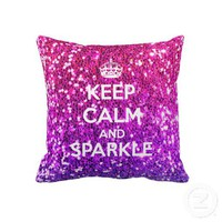 Keep Calm and Sparkle Glitter LookLike Rainbow Pillow from Zazzle.com