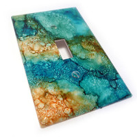 Teal and Orange Light Switch cover marbled by summittdesigns