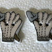 Ceramic Buttons two gloves, two signs
