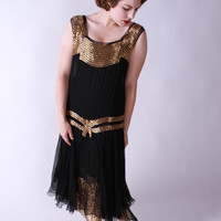 Vintage 1920s Dress - Exceptional Black Silk Chiffon and Gold Beaded Art Deco Flapper Evening Dress