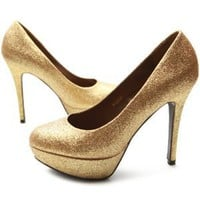 Ollio Womens Shoes Platforms Glitter Stilettos High Heels Multi Colored (7 B(M) US, Gold):Amazon:Shoes
