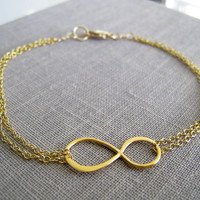 Infinity bracelet gold delicate and simple chain by NYmetals