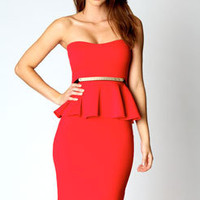 Faye Bandeau Belted Peplum Midi Dress